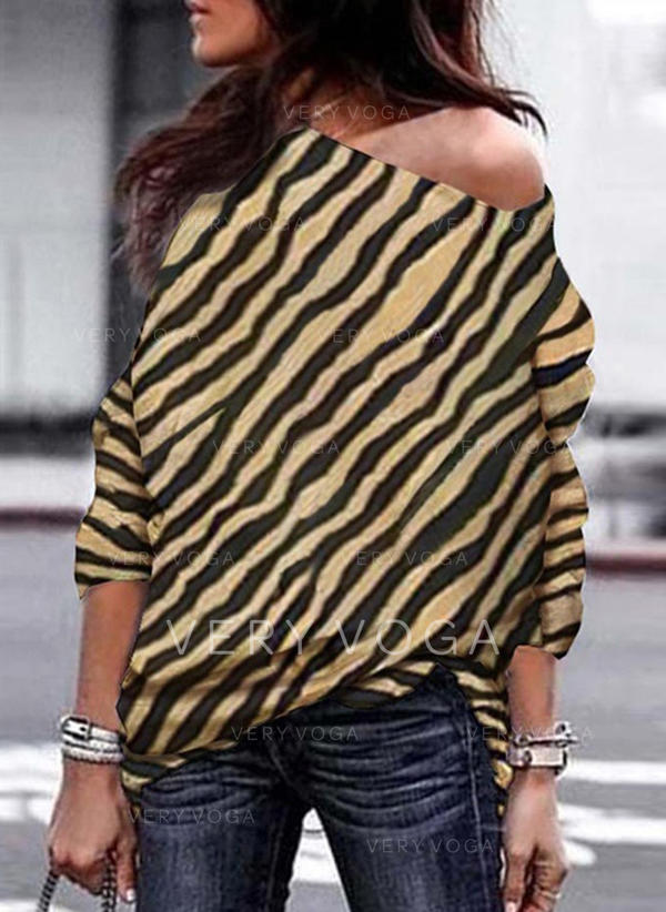 Striped One-Shoulder Long Sleeves Casual Blouses
