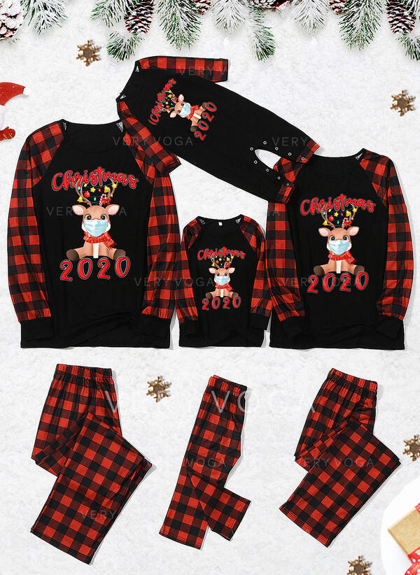 Renne Plaid Letter Inmprimé Tenue Familiale Assortie Pyjama De Noël