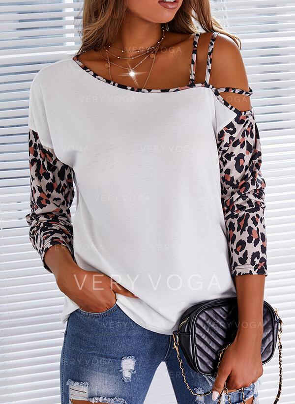 Impresión Leopardo Un Hombre Mangas 1/2 Casual Blusas