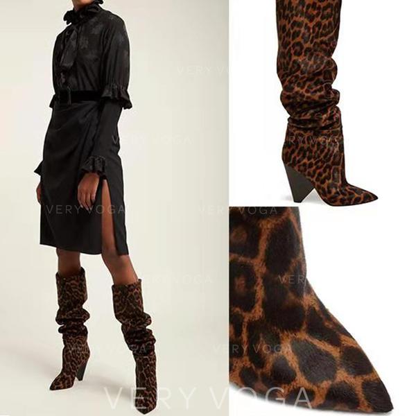 Women's Fabric Chunky Heel Knee High Boots With Animal Print shoes
