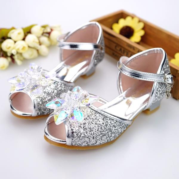 3bbfb7fe34c Girl s Leatherette Low Heel Peep Toe Sandals Flower Girl Shoes With Buckle  Rhinestone Sparkling Glitter