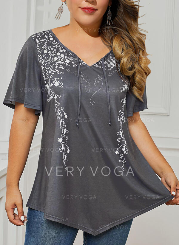 Print V-Neck Short Sleeves Casual Plus Size Blouses