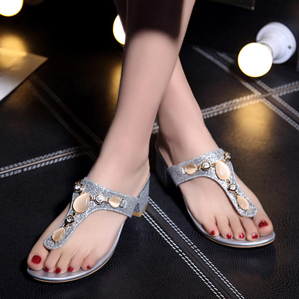 a39cf56fae5a5 Women s Leatherette Flat Heel Sandals Flats Peep Toe Slippers With Rhinestone  shoes