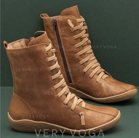 Bayanlar PU Düşük Topuk bot ayakkabı Ile Fermuar Bağcıklı ayakkabı ayakkabı