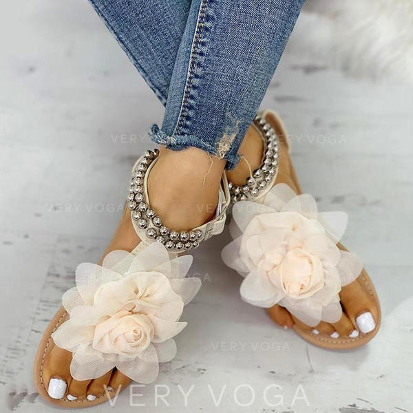 Women's PU Flat Heel Sandals With Beading Flower shoes