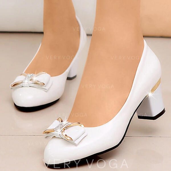 Women's PU Chunky Heel Pumps Pointed Toe With Bowknot shoes
