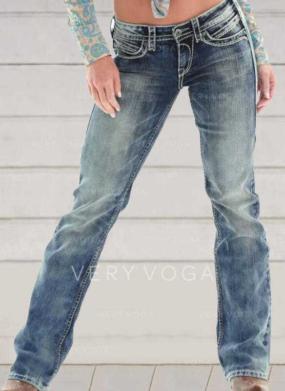 Ricamato arricciato Taglia grossa Lungo Elegante Scheletrico Denim & Jeans