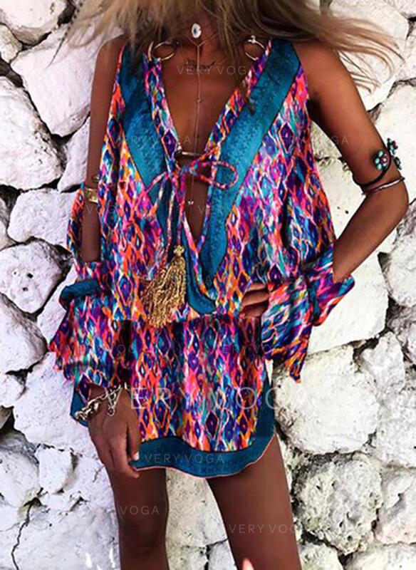 Print Long Sleeves Sheath Above Knee Casual/Boho/Vacation Dresses