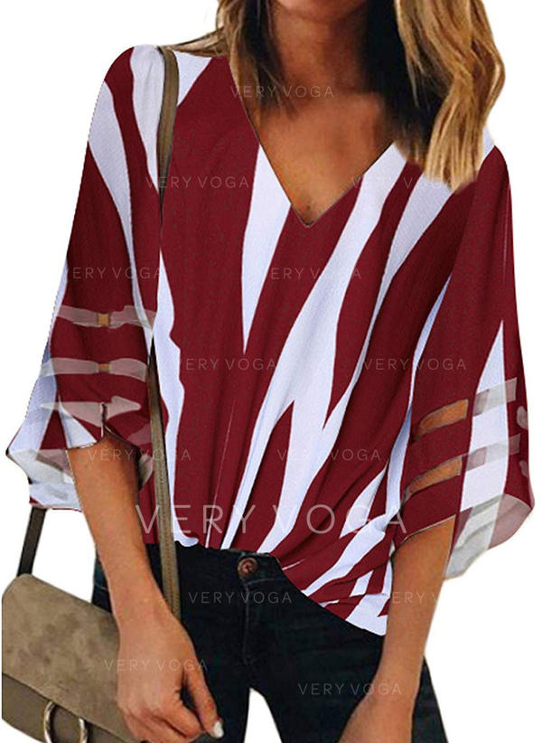 Striped V Neck 1/2 Sleeves Blouses