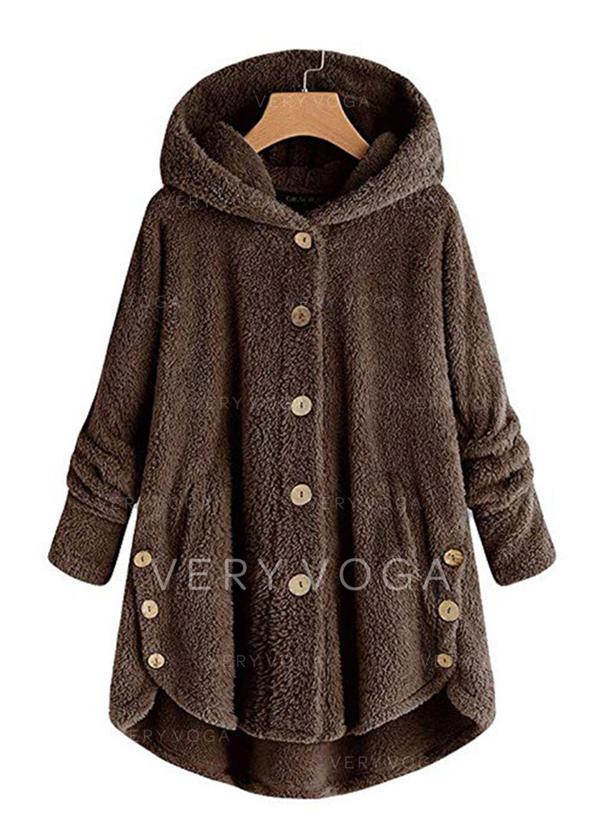 uk availability 589d8 79f46 [US$ 36.99] Poliestere Maniche lunghe Colore solido Cappotto di pelliccia  sintetica - VeryVoga