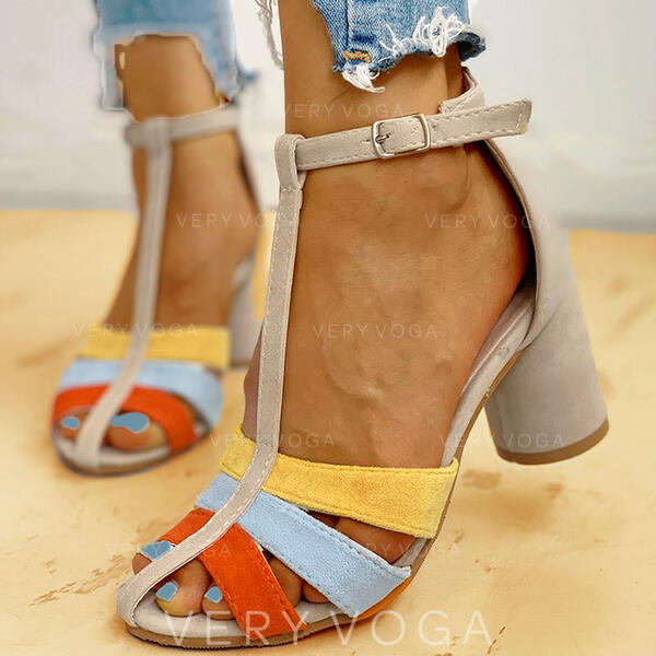 Women's PU Chunky Heel Sandals Pumps With Buckle shoes