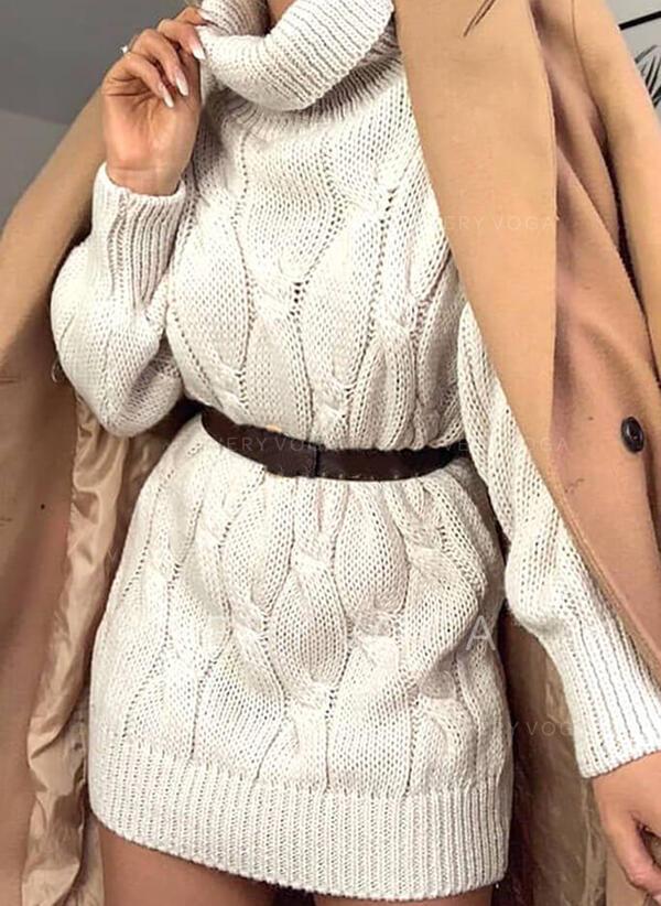 固体 長袖 シフトドレス 膝上 カジュアル セーター ドレス
