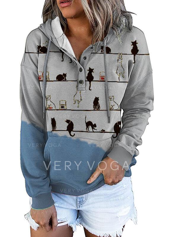 Blok Koloru Zwierzę Bluza z kapturem Długie rękawy Bluza z kapturem