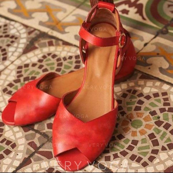 Dámské PU Placatý podpatek Sandály S Přezka obuv