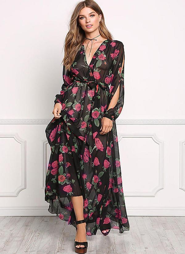 mousseline de soie avec couture maxi robe 199192025. Black Bedroom Furniture Sets. Home Design Ideas