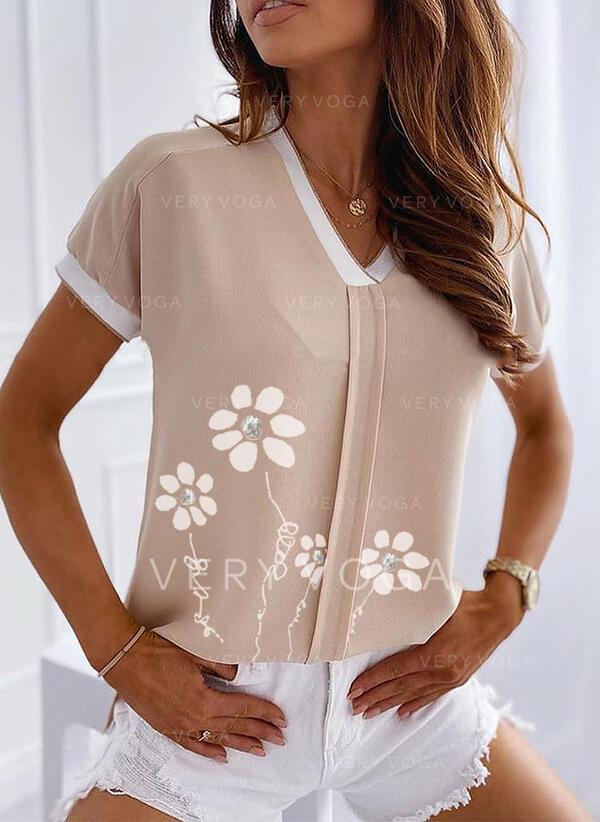 Minta Virágos V-nyak Rövidujjú Hétköznapokra πουκαμίσες