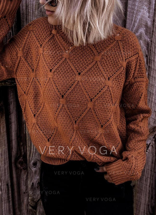 Einfarbig Zopfmuster Rundhalsausschnitt Freizeit Pullover