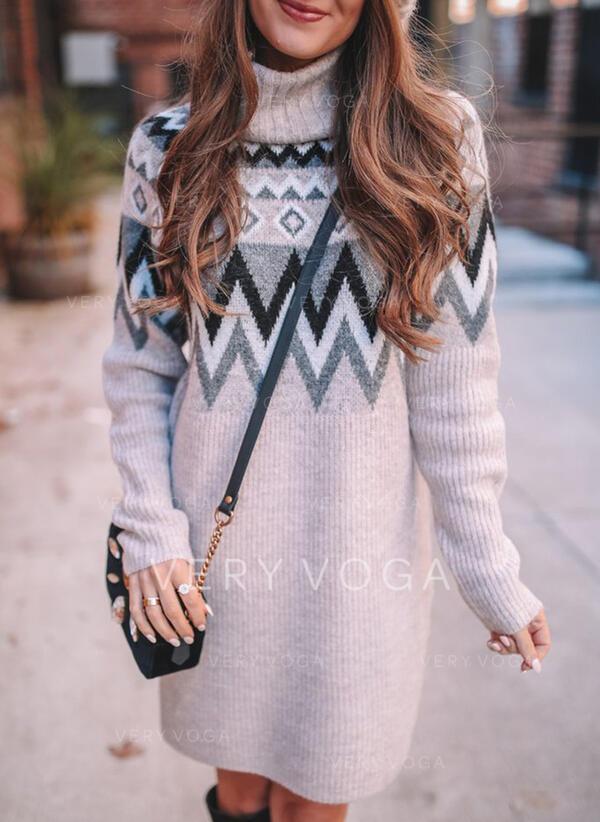 Stampa Dolcevita Casual Lungo Abito maglione