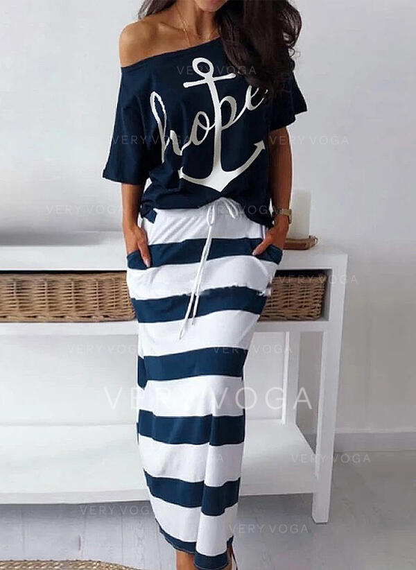 Print/Striped 3/4 Sleeves Sheath Casual Midi Dresses