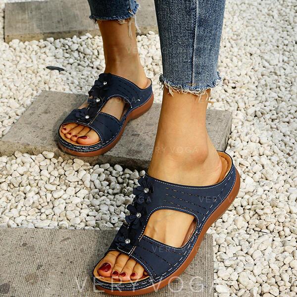 Жіночі ПУ Танкетка взуття на короткій шпильці Тапочки з Кристал Квітка взуття