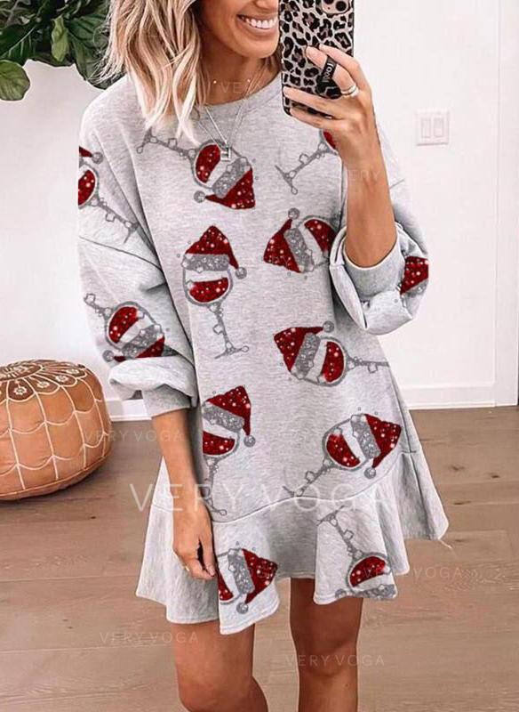 Print Long Sleeves Shift Above Knee Christmas/Casual Sweatshirt Dresses