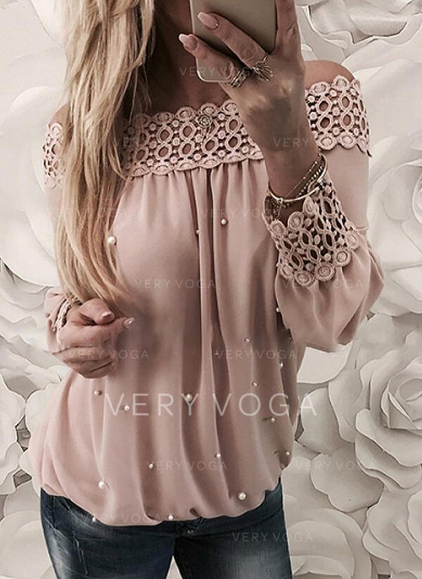 Solid Lace Off the Shoulder Long Sleeves Casual Elegant Blouses (1003293315)