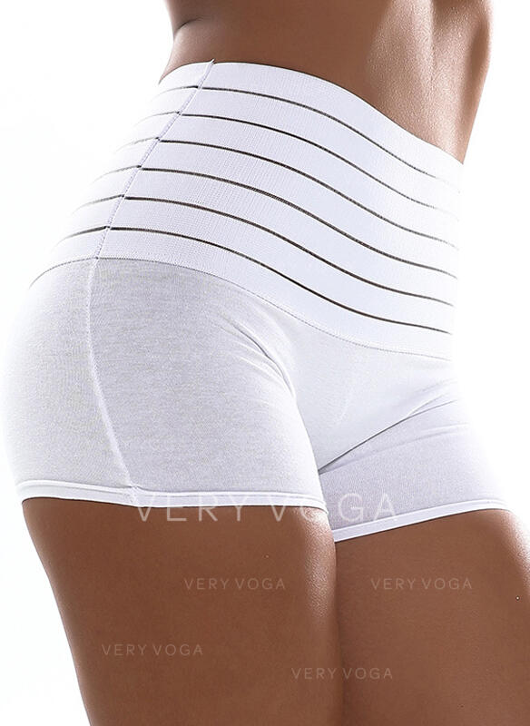 Solid Striped Above Knee Casual Pants Shorts Leggings