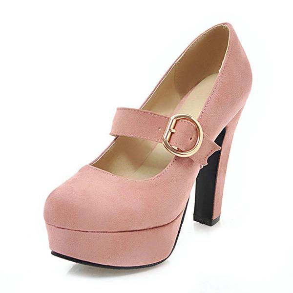 Naisten Mokkanahka Chunky heel Avokkaat Platform jossa Solki kengät