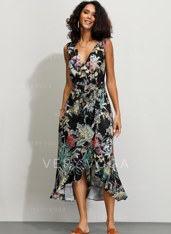 Print/Floral Sleeveless A-line Midi Casual/Party/Vacation Dresses