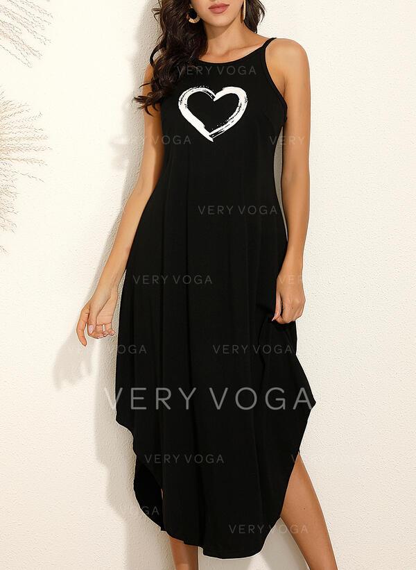 Print/Heart Sleeveless Shift Slip Casual/Vacation Maxi Dresses