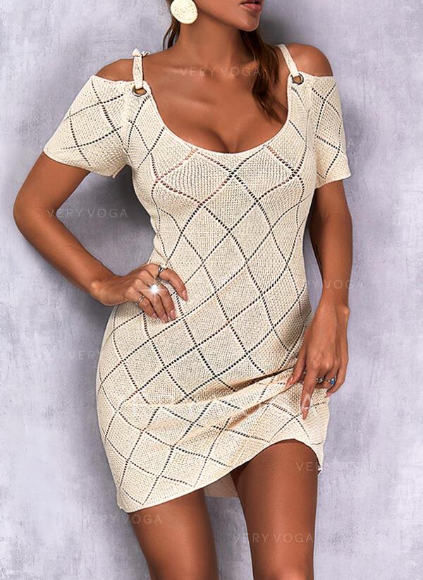 Einfarbig Schulterfrei Lässige Kleidung Pulloverkleid