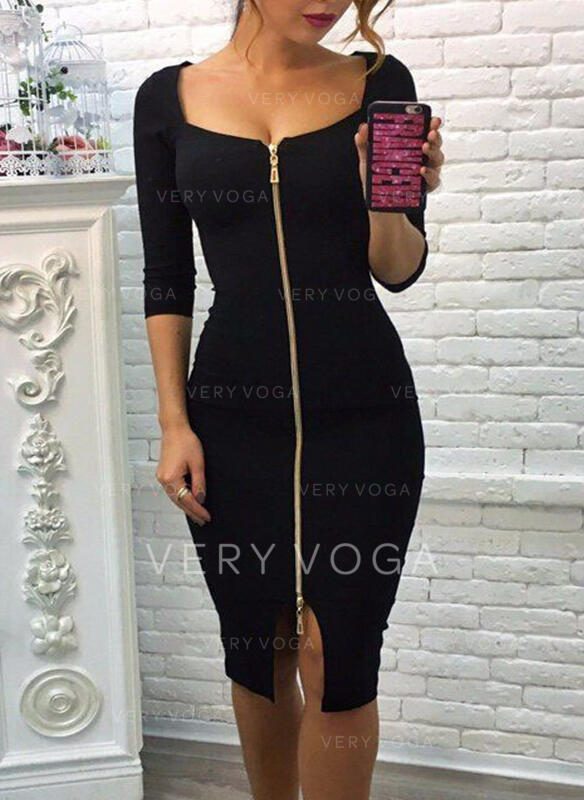 Solid 3/4 Sleeves Bodycon Knee Length Little Black/Elegant Pencil Dresses