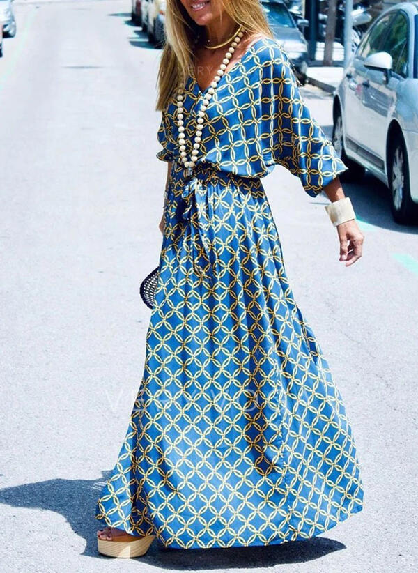 Print 3/4 Sleeves A-line Casual/Vacation Maxi Dresses (199306987)