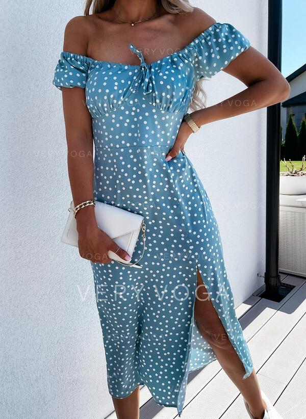 Groszki/Sznurowanie Krótkie rękawy W kształcie litery A Łyżwiaż Casual Midi Sukienki