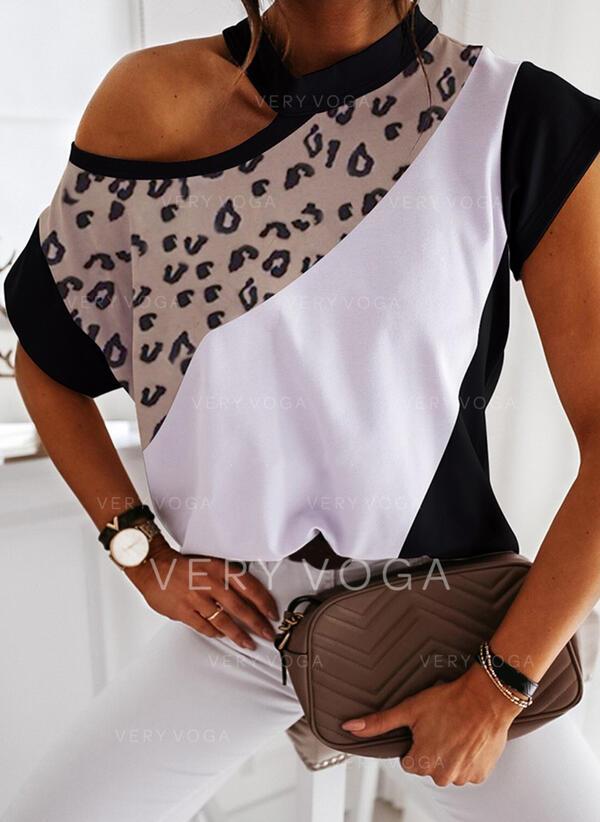 Color Block Leopard Jedno rameno Krátké rukávy Neformální Blůzy