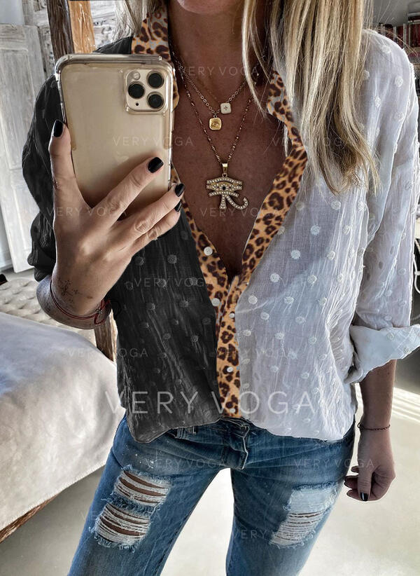 Puantiyeli leopárd klapa Uzun kollu Düğmesiz Yakalı Günlük Gömlekler