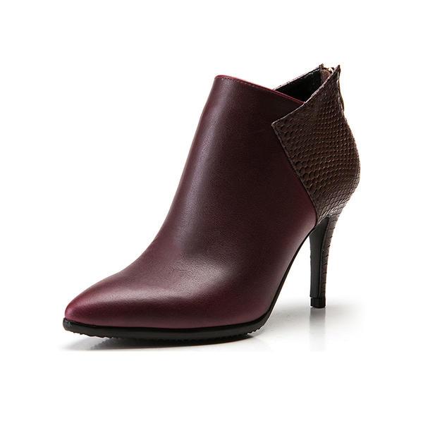 Women's Leatherette Stiletto Heel Platform Ankle Boots With Split Joint shoes