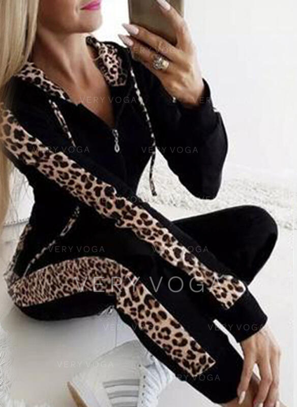 Patchwork Plus Size Leopard Casual Sexy Sporty Suits