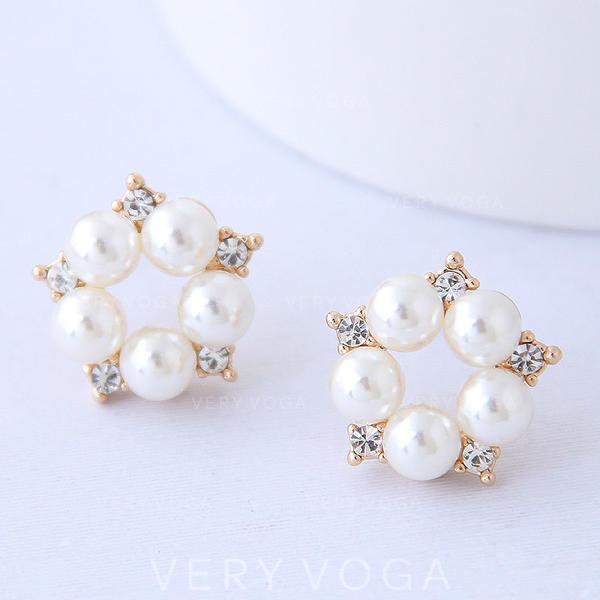 19a887e81507 En forma de flor Aleación Diamantes de imitación La perla de faux con  Perlas de imitación