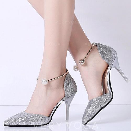Женский PU Стилет каблук Насосы с жемчужный цехин обувь