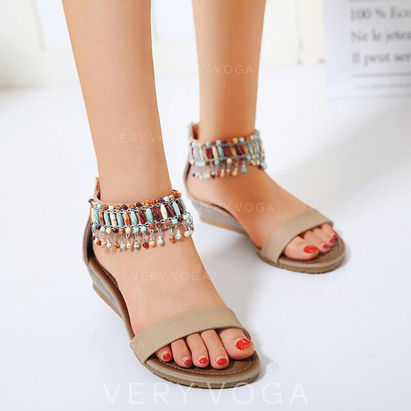 Mulheres PU Plataforma Sandálias Peep toe com Franja sapatos
