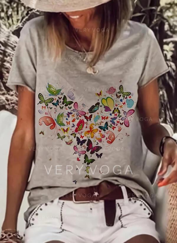Floral Estampado Animal Cuello redondo Manga corta Casual Camisetas