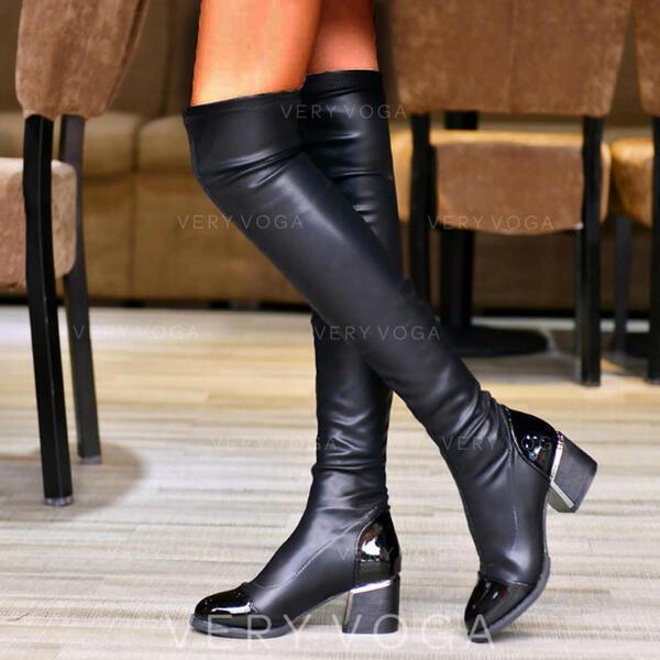 De mujer PU Tacón ancho Botas sobre la rodilla Encaje con Acanalada Color sólido zapatos