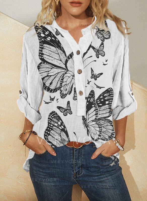 Nadruk butterfly Dekolt w kształcie litery V Długie rękawy Nieformalny Bluzki