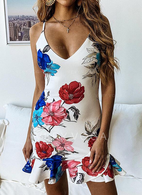 Estampado/Floral Sem mangas Bainha Acima do Joelho Sexy/Casual/Férias Vestidos