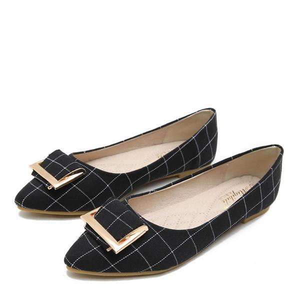 [US$ 42.99] Frauen Stoff Flascher Absatz Flache Schuhe Geschlossene Zehe mit Schnalle Schuhe VeryVoga