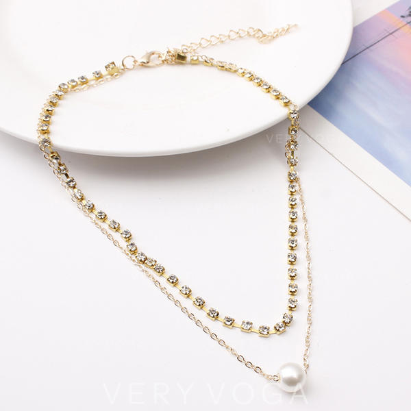 Beautiful Alloy Rhinestones Imitation Pearls With Rhinestone Women's Fashion Necklace (Sold in a single piece)