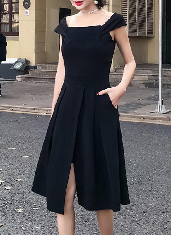 Κοντά μανίκια Αμάνικο Μήκος γόνατος Μικρά μαύρα φορέματα Απλό Κομψό φορέματα 860c45e62ba