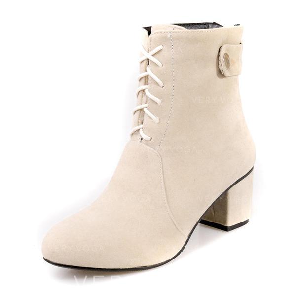 Femmes Suède Talon bottier Escarpins Bout fermé Bottes Bottes mi-mollets Martin bottes avec Dentelle chaussures