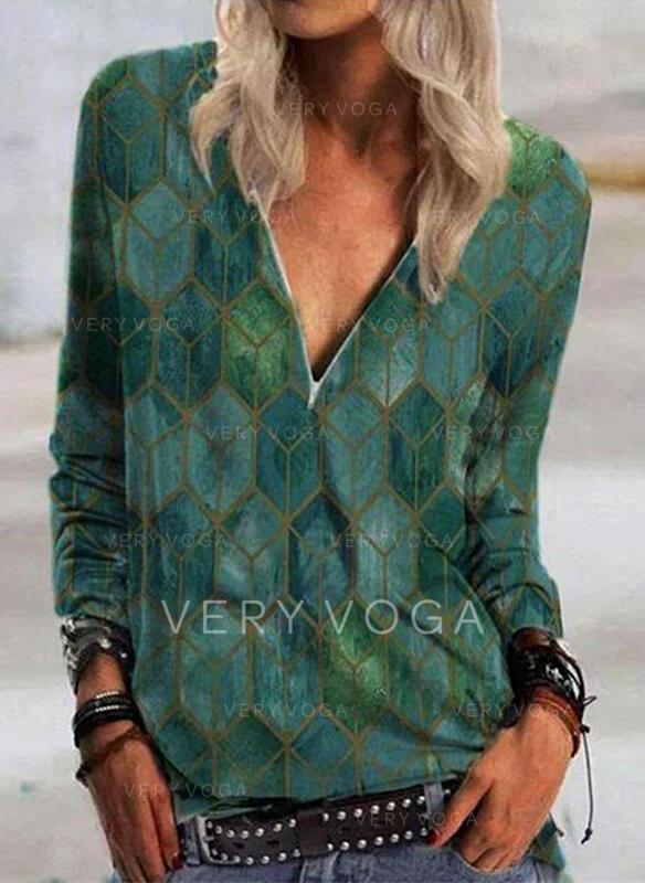 Print Geometric Print V-Neck Long Sleeves Casual Blouses